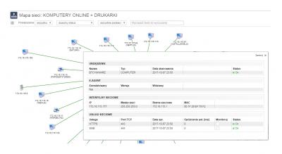 Mapa sieci. Skaner sieci. Informacja szczegółowa o sieci.