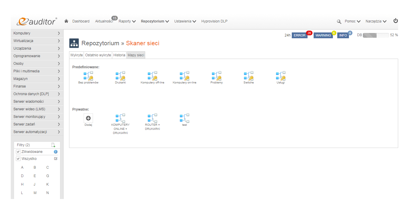 Mapa sieci komputerowej. Skaner sieci. eAuditor WEB.