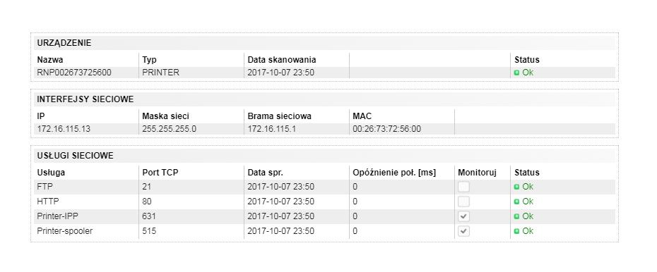 Skaner sieci, Mapa sieci, Monitorowanie sieci