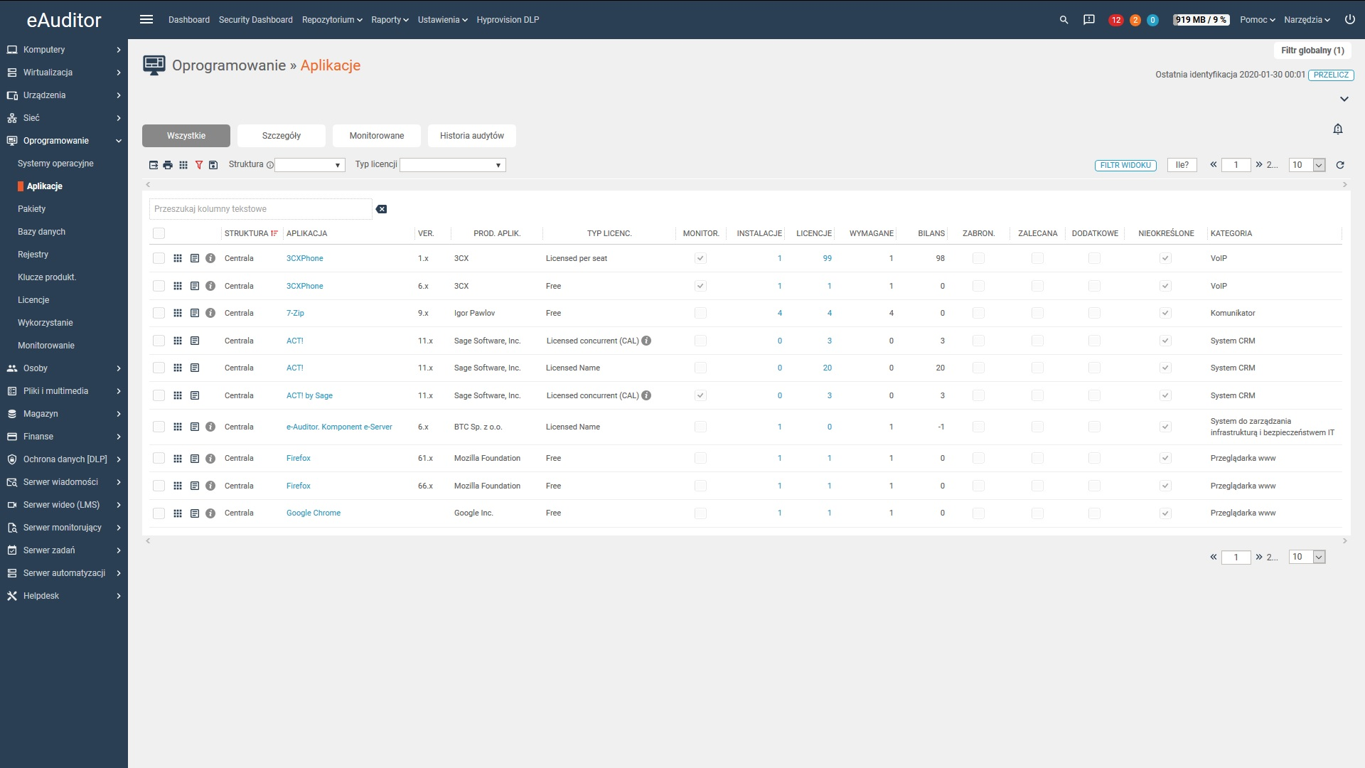 eAuditor V7 WEB - Oprogramowanie - Aplikacje