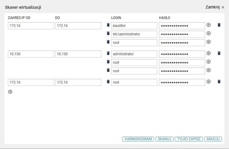 eAuditor WEB - Wirtualizacja - harmonogram